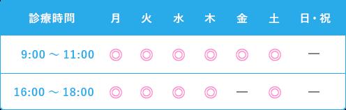 診療時間 月火水木金土日祝 9:00~12:00 16:00~19:00